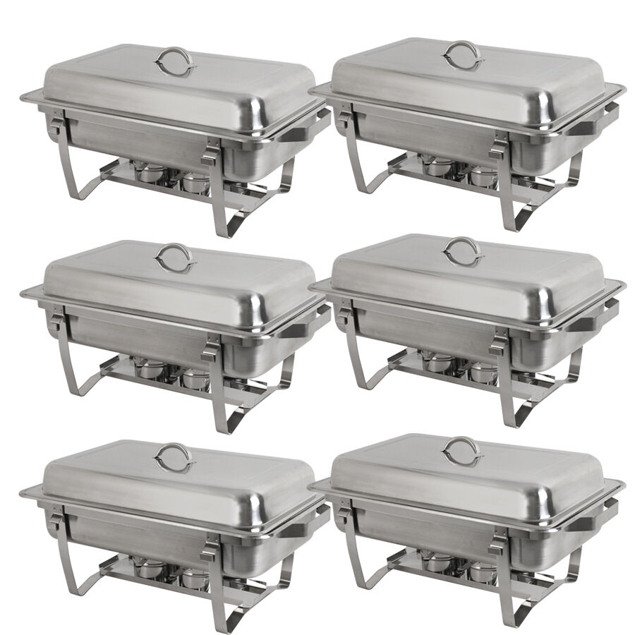 new 6 pack of 8 quart stainless steel rectangular chafing dish full size ebay. Black Bedroom Furniture Sets. Home Design Ideas