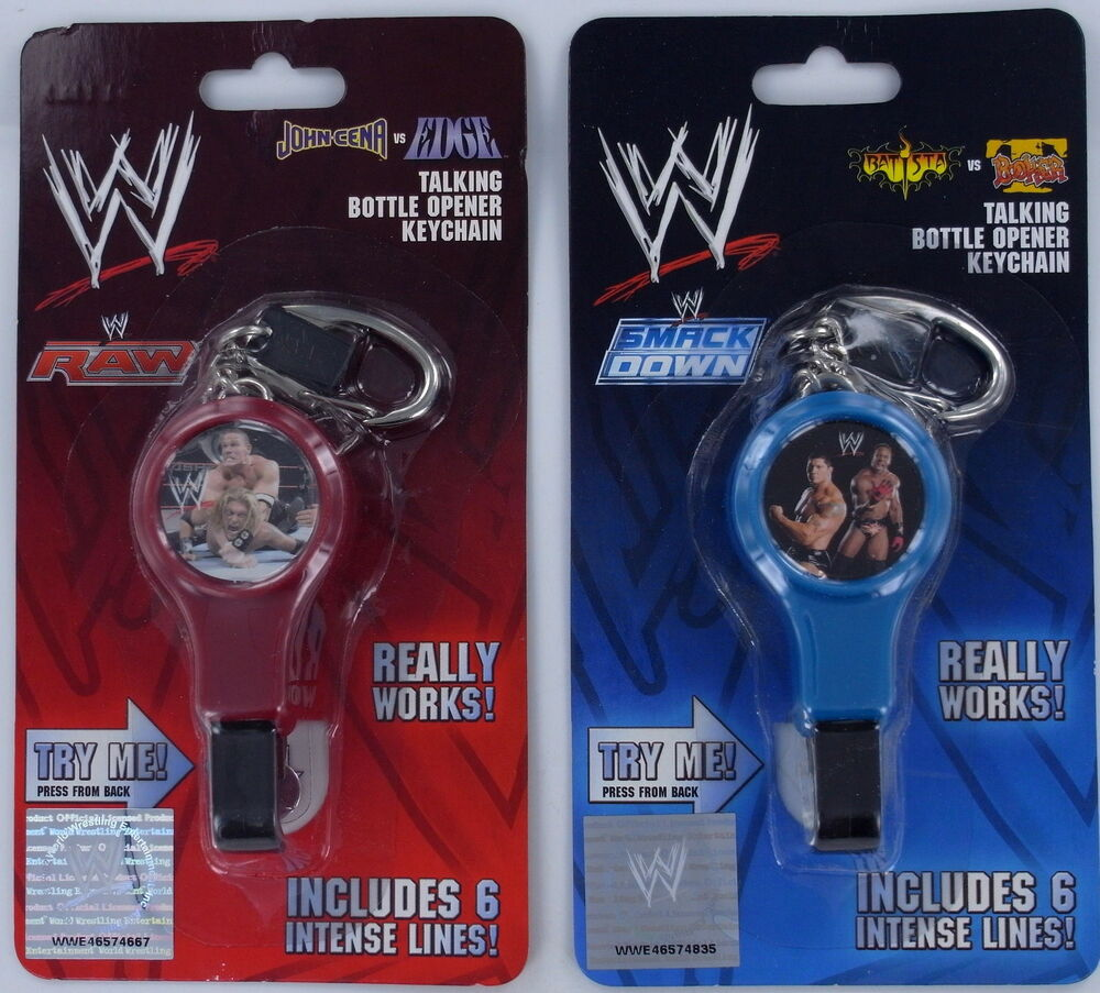 Talking bottle opener wwe raw smackdown wrestling keychain keyring cena edge new ebay - Wrestler bottle opener ...