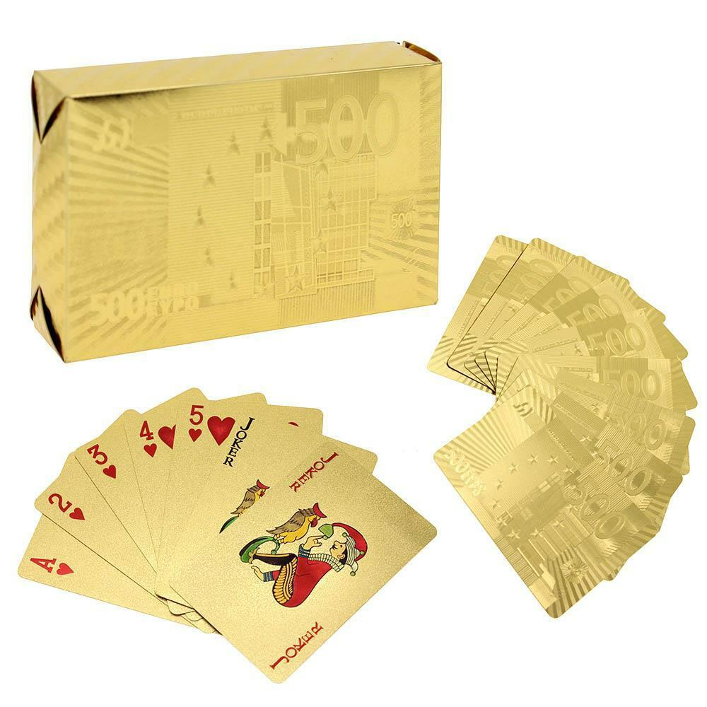 Plastic Waterproof 24k Gold Foil Plated Cover Poker 54