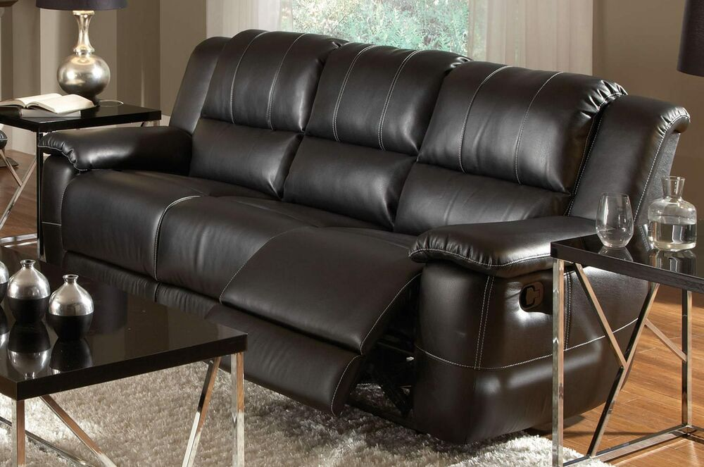 BLACK BONDED LEATHER RECLINING MOTION SOFA LIVING ROOM