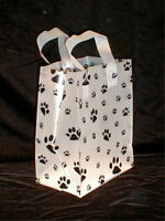 Gift Party Shopping Bags w/handles Dogs Cats Paw Prints (5) Small New!