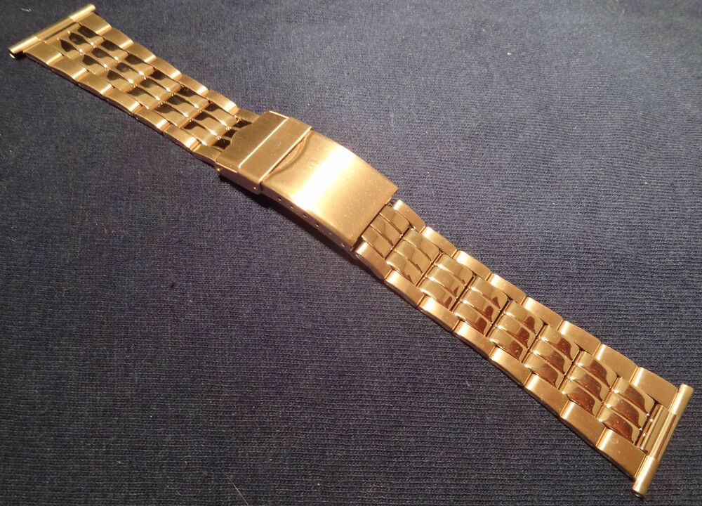 rowi made in germany 24mm gold tone bracelet watch band deployment buckle ebay. Black Bedroom Furniture Sets. Home Design Ideas
