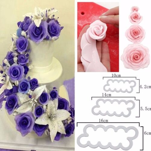 3PCS Rose Flower Fondant Icing Cake Chocolate Mould Cutter Bake Sugarcraft US