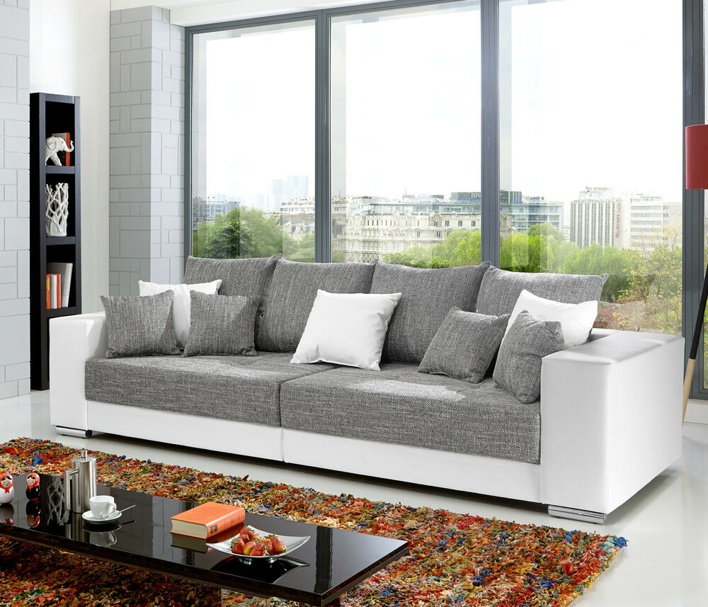 bigsofa adria big sofa couch in wei bezug webstoff hellgrau mit vielen kissen ebay. Black Bedroom Furniture Sets. Home Design Ideas