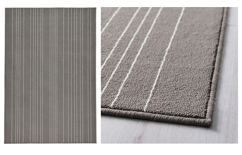 Grey And White Carpet Runner: Ikea Hulsig Rug Low Pile Gray New!!