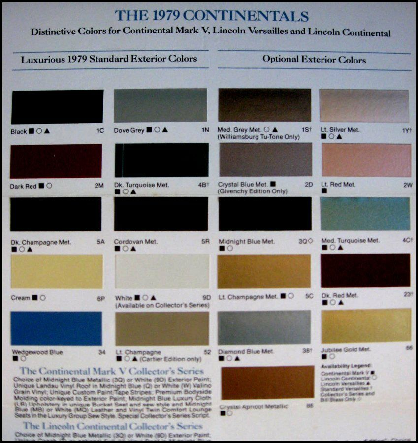 1979 Lincoln Color Chip Paint Selector Brochure