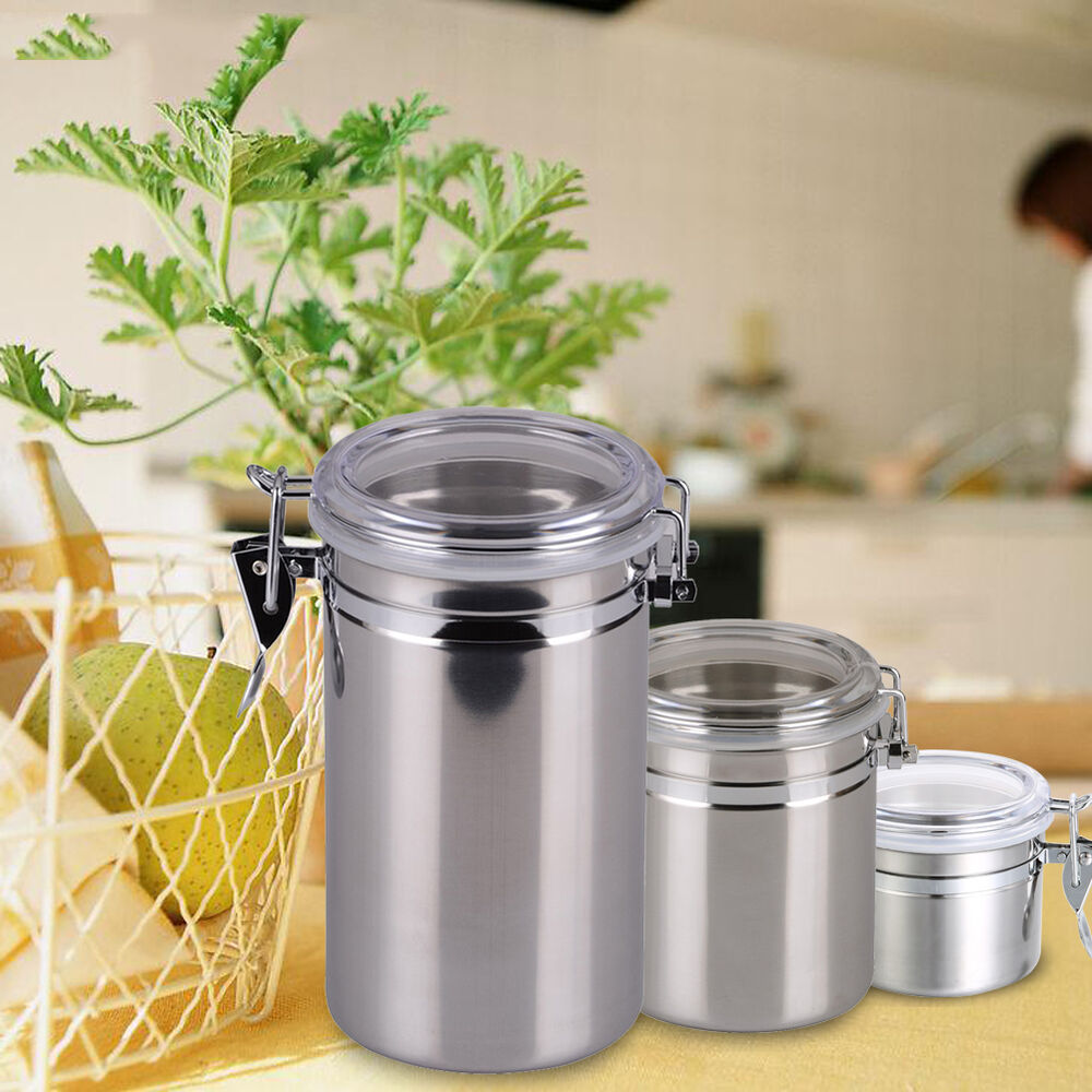 stainless steel airtight containers canister kitchen coffee flour sugar dry jars ebay. Black Bedroom Furniture Sets. Home Design Ideas