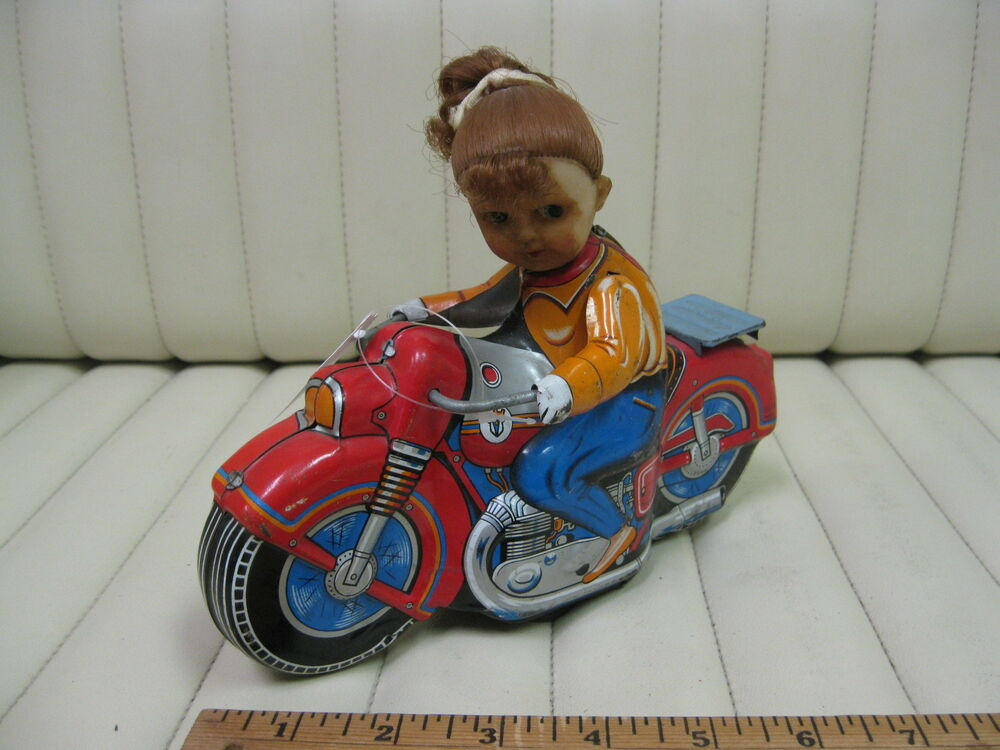 1960s Girl Cycle Tin Friction Motorcycle Toy by Haji Japan ...