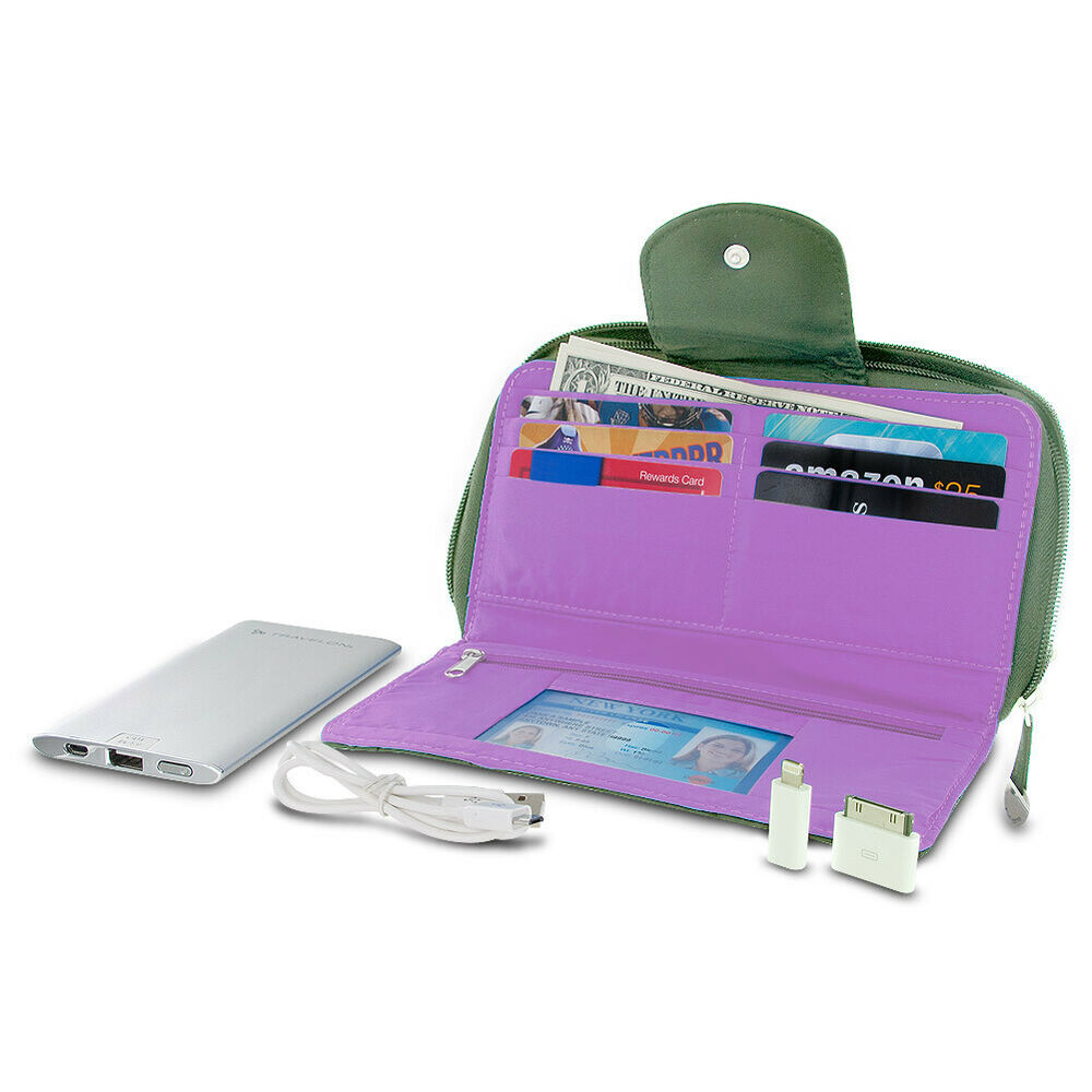 Travelon Rfid Blocking Clutch Wallet W 5000mah Power Bank Battery Charger Olive Ebay