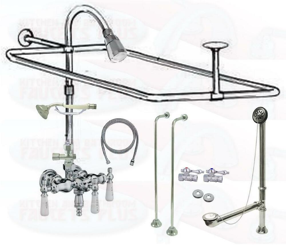 Chrome Clawfoot Tub Faucet Add A Shower Kit W Drain Supplies Stops 1