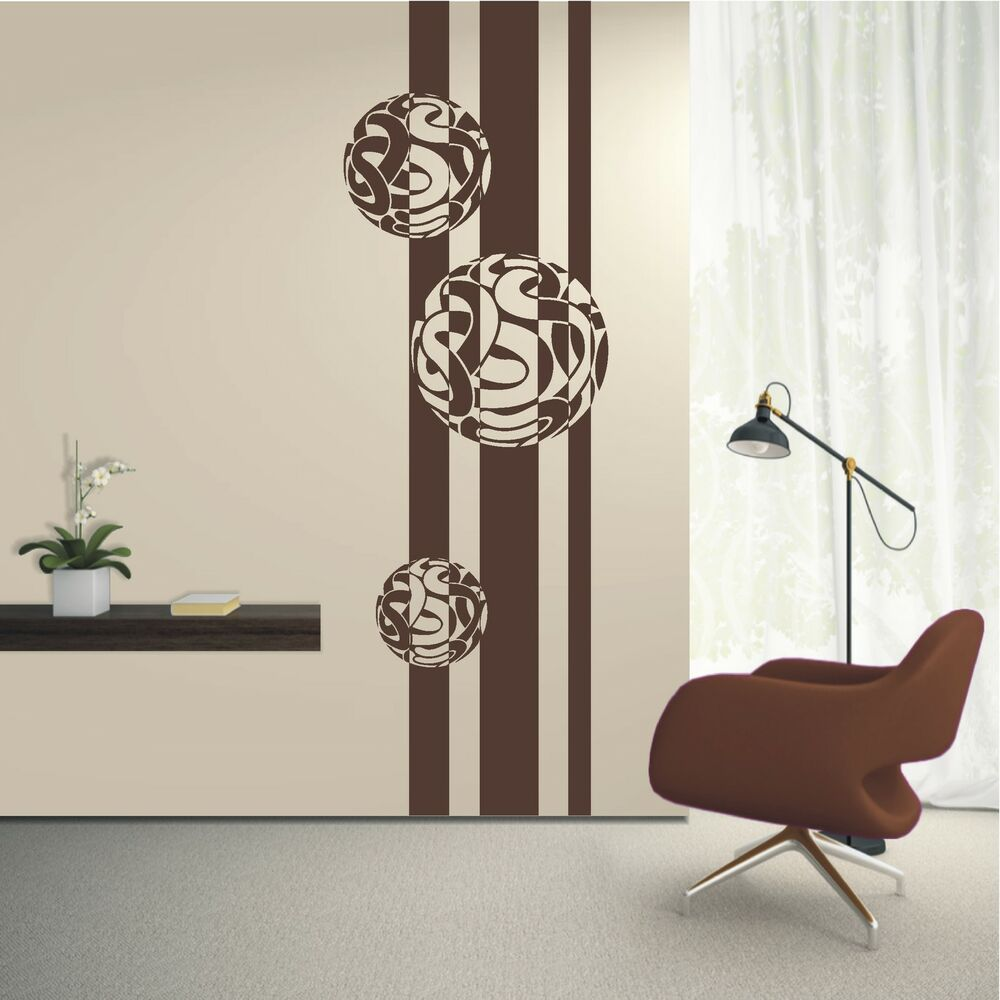 wandtattoo wandaufkleber banner streifen kugel ornament. Black Bedroom Furniture Sets. Home Design Ideas