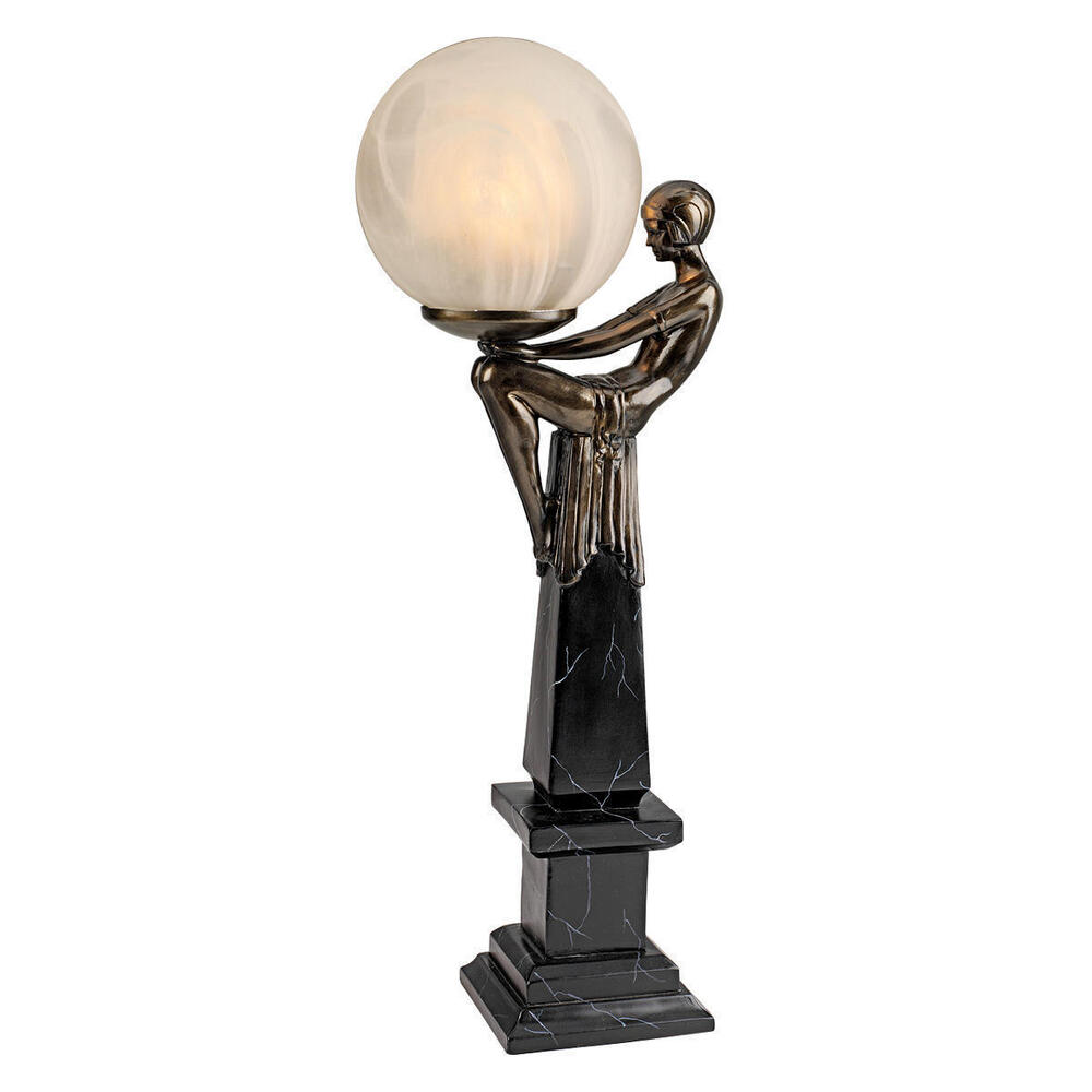 Artistic Art Deco Flapper Era Frosted Orb Table Lamp Light Home Decor New Ebay