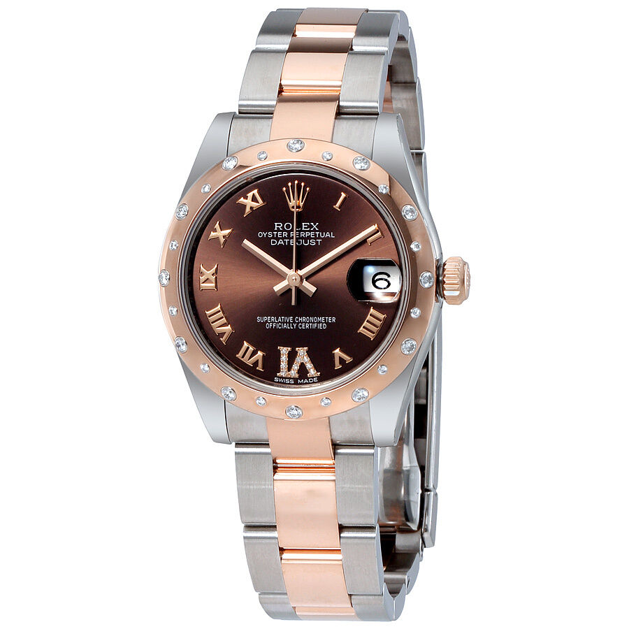 Rolex datejust 31 chocolate dial steel and 18k everose gold diamond ladies ebay for Rolex date just 31