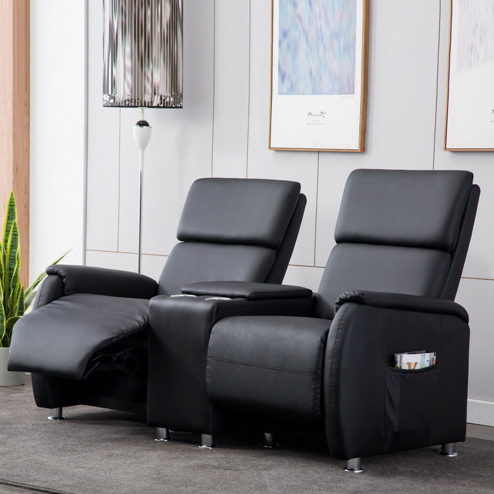 kinosessel 2 sitzer relaxchair fernsehsessel heimkino cinema sessel schwarz ebay. Black Bedroom Furniture Sets. Home Design Ideas