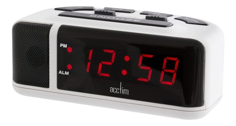 Acctim Adelphi Red Led Mains Electric Bold Bedside Alarm