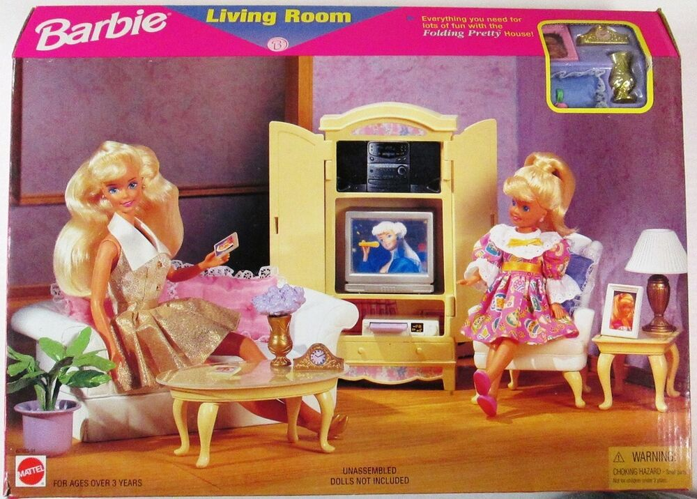 barbie living room folding pretty living room 1996 playset new ebay 10758