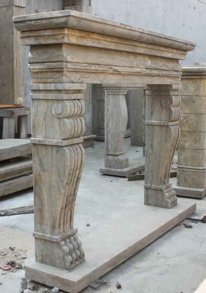 old world hand carved marble fireplace mantel with claw feet 3965 ebay. Black Bedroom Furniture Sets. Home Design Ideas