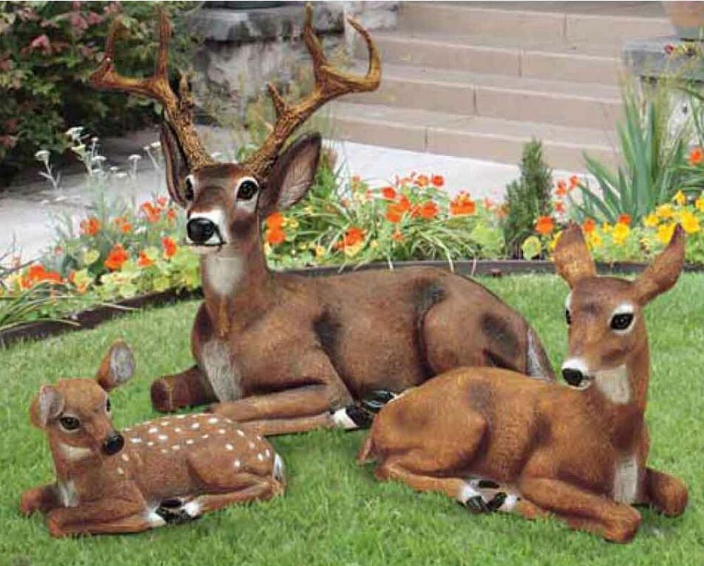 Deer family garden statues doe buck fawn animal decor ebay for Animal decoration