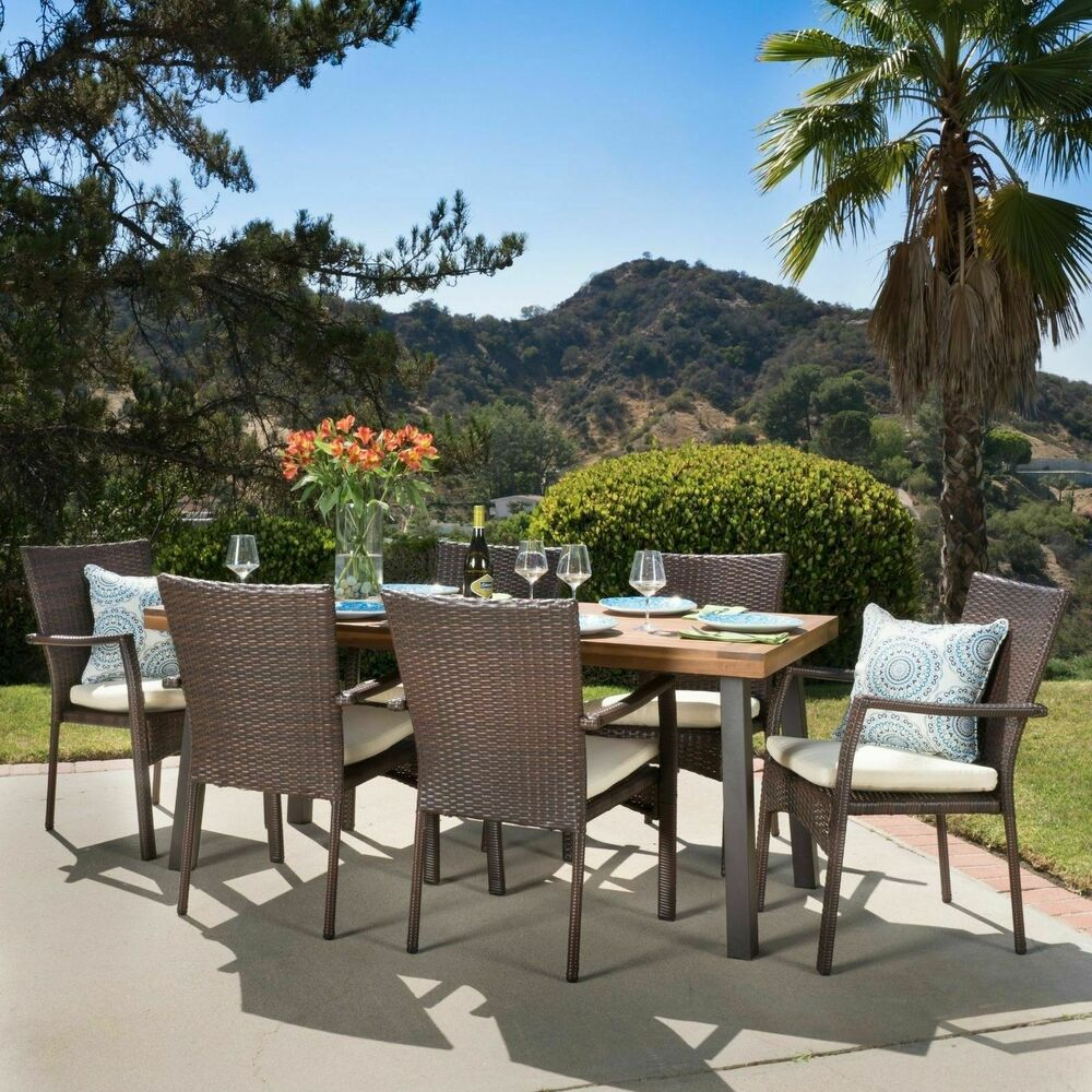Castlelake 7 piece outdoor dining set wood table w for Outdoor patio dining