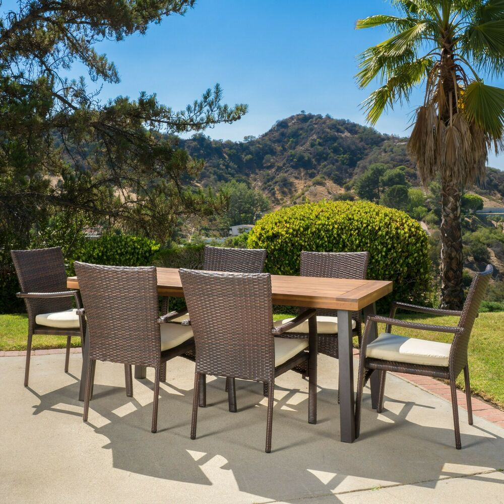 Castlelake 7 piece outdoor dining set wood table w for Patio dining sets with bench seating
