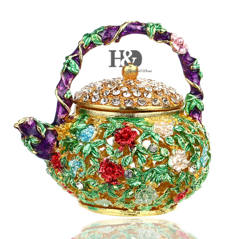 Teapot flower cover crystal jewelry trinket box for gift for Decor jewelry