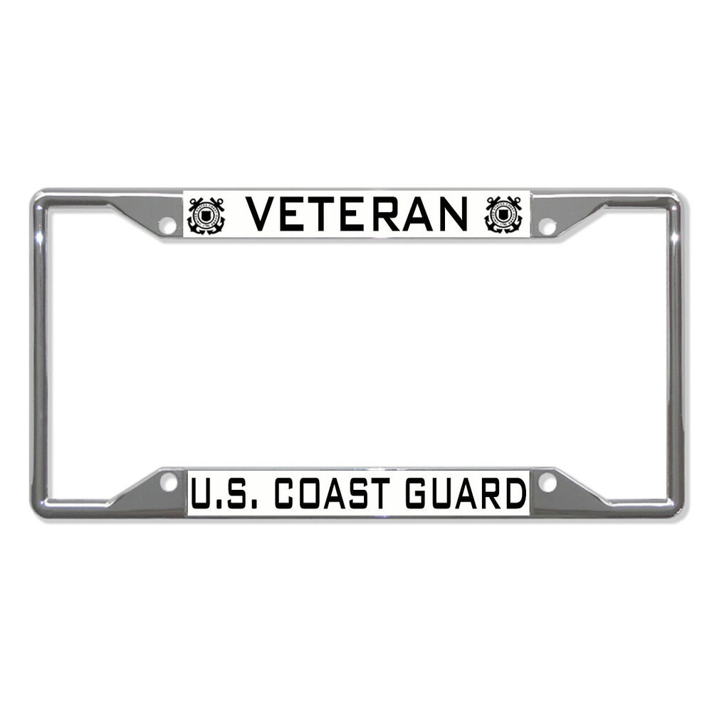 Veteran U S Coast Guard Metal License Plate Frame Tag