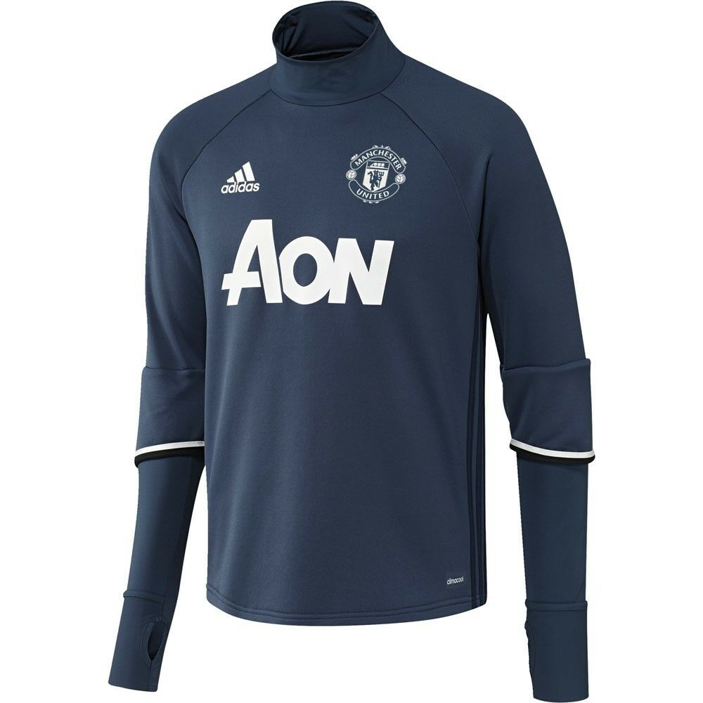 adidas manchester united 2016 2017 long sleeve training soccer top navy blue ebay. Black Bedroom Furniture Sets. Home Design Ideas