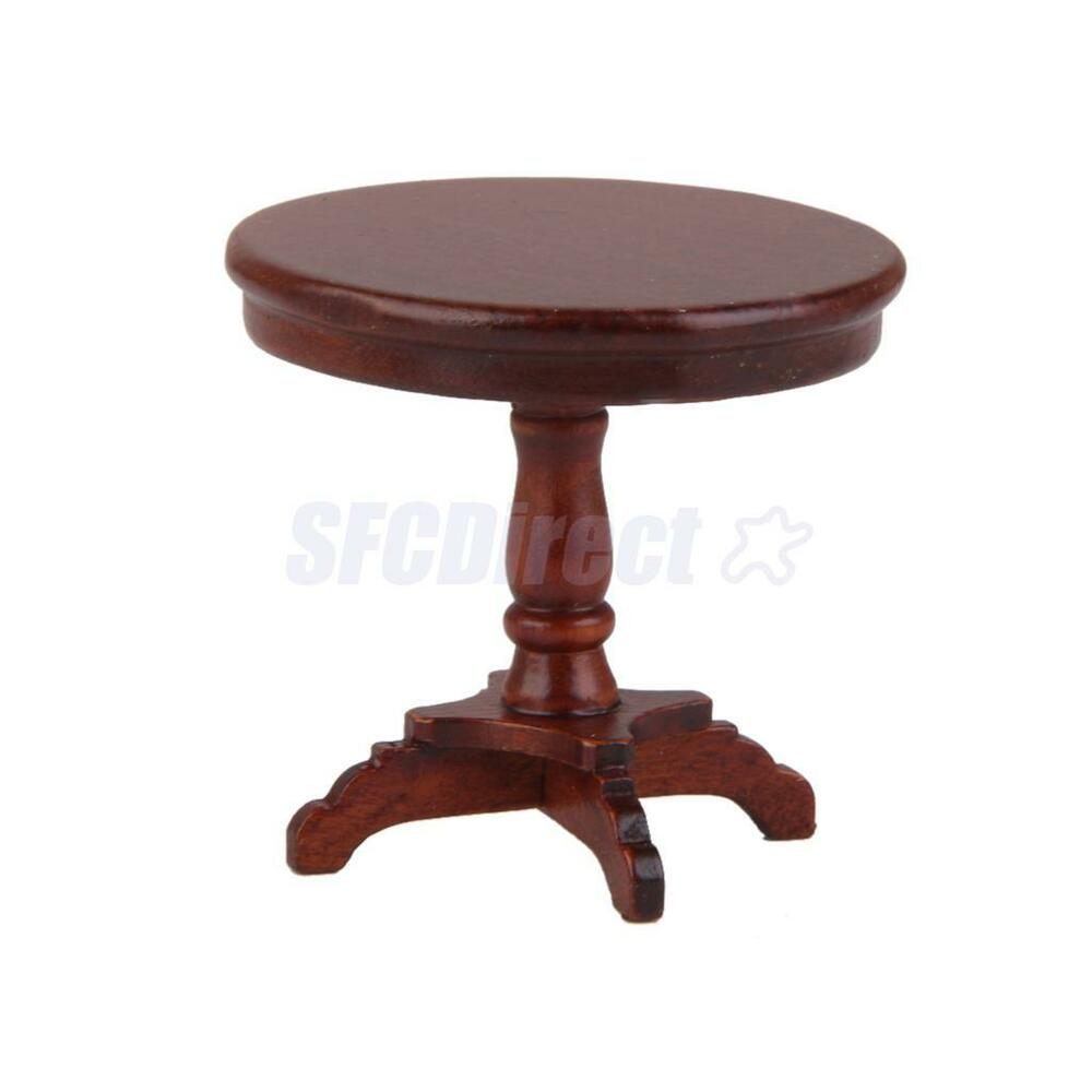 Dollhouse miniature furniture mahogany wooden round coffee