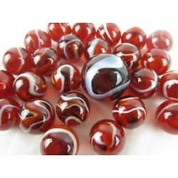 Kyпить 25 Glass Marbles ROOSTER Red/White Translucent/Transparent Shooter Swirl game на еВаy.соm