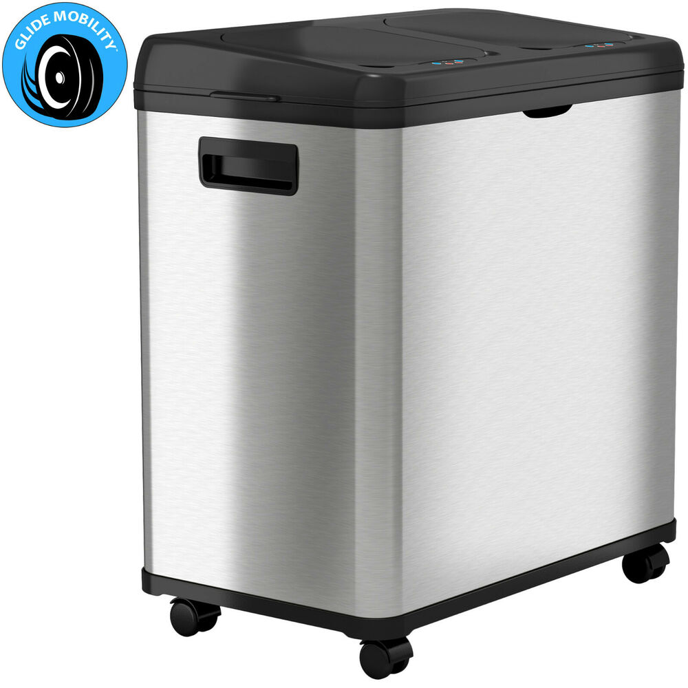 16 gallon dual stainless steel touchless sensor automatic recycle trash can ebay. Black Bedroom Furniture Sets. Home Design Ideas