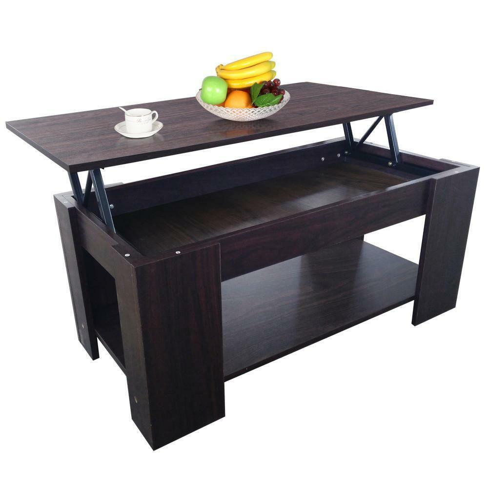 Lift Top Coffee Table With Storage Undershelf Occasional End Table Espresso Ebay