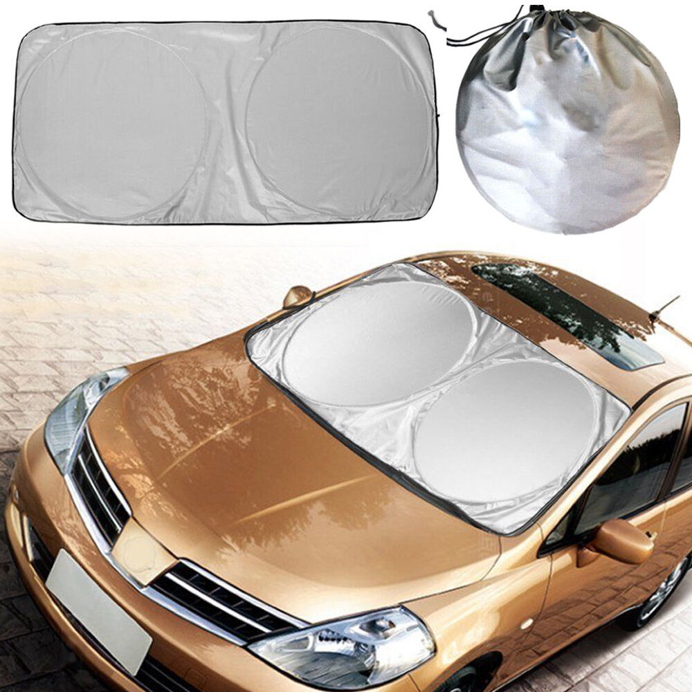 jumbo foldable front rear car suv window sun shade auto visor windshield cover ebay. Black Bedroom Furniture Sets. Home Design Ideas