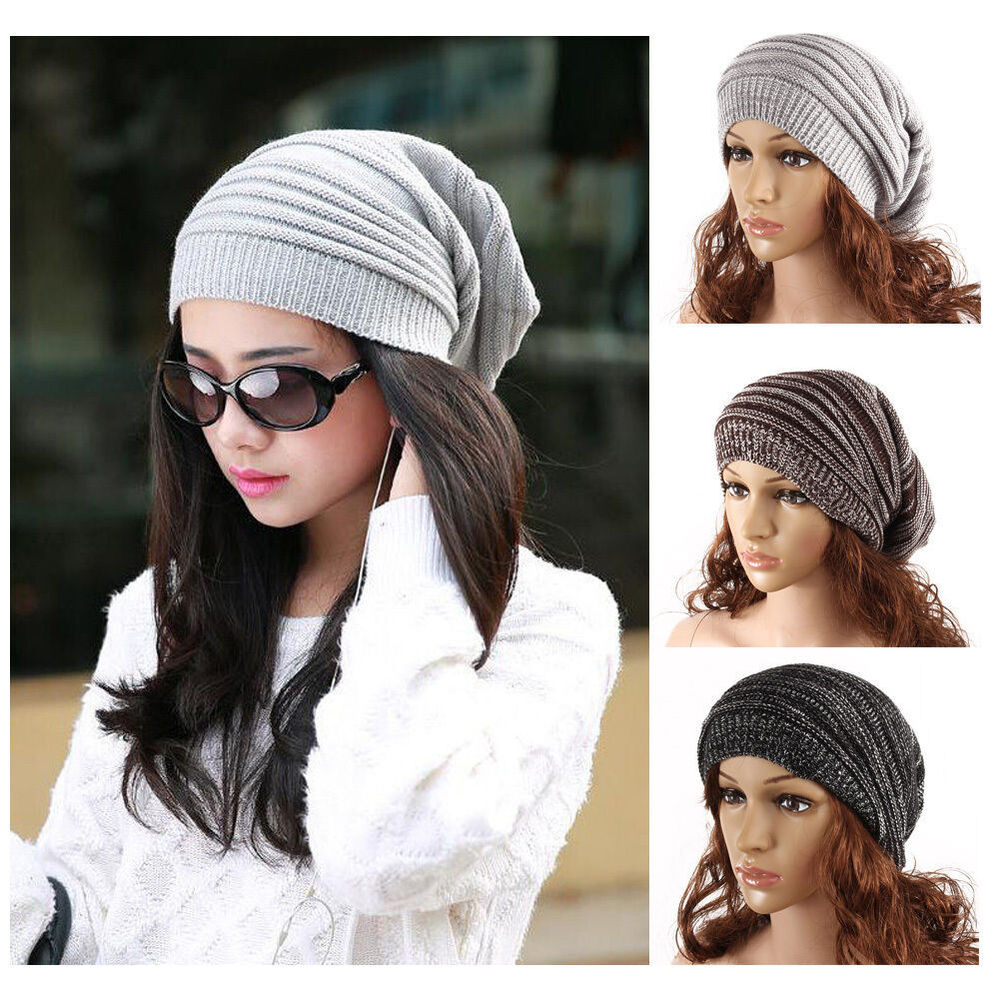 78d88707c1a Details about Women Mens Warm Winter Baggy Beanie Knit Crochet Ski Hat  Oversized Slouch Cap