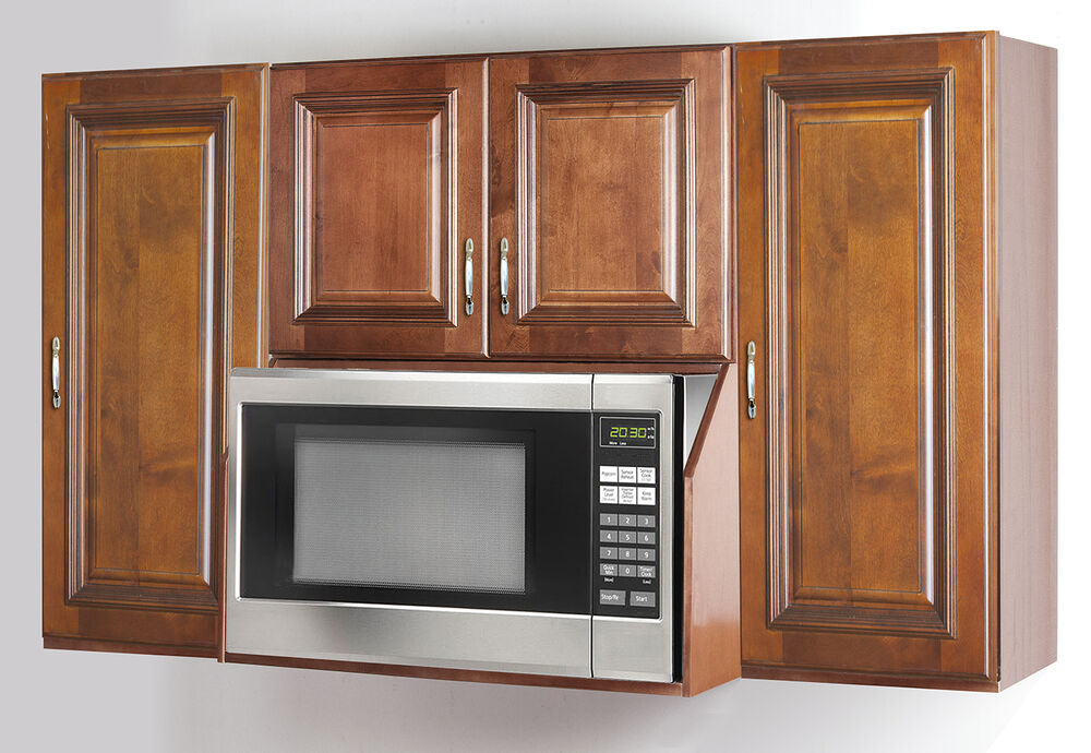 Maple microwave oven wall cabinet set ebay for Kraftmaid microwave shelf