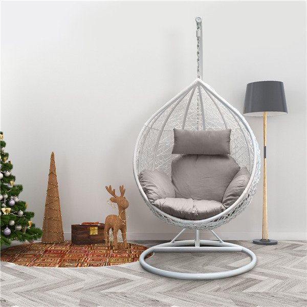 rattan swing patio garden weave hanging egg chair w. Black Bedroom Furniture Sets. Home Design Ideas