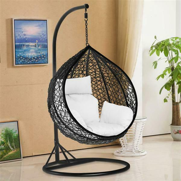 rattan swing patio garden weave hanging egg chair w cushion cover in or outdoor ebay. Black Bedroom Furniture Sets. Home Design Ideas
