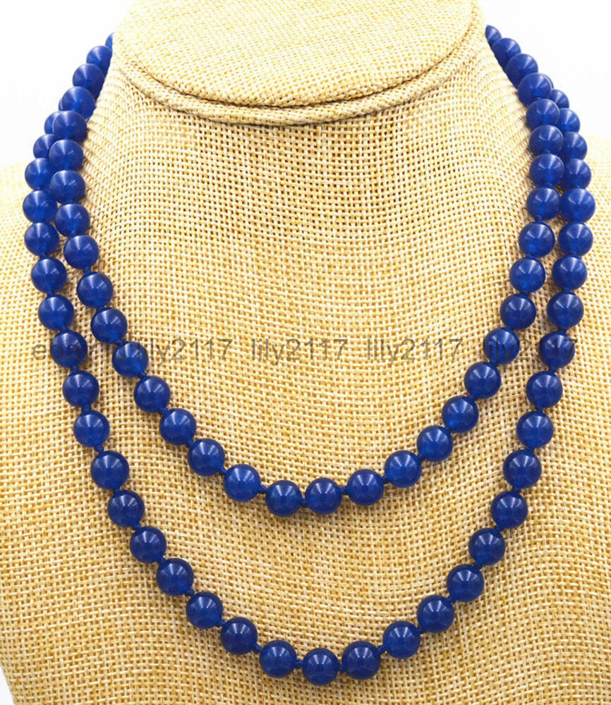 new 6mm deep blue sapphire gemstone beads jewelry necklace. Black Bedroom Furniture Sets. Home Design Ideas