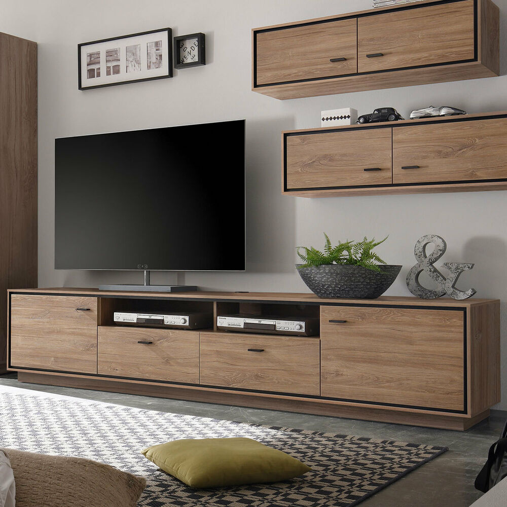 tv lowboard salinas stirling eiche schwarz wohnzimmer schrank kommode 238 cm ebay. Black Bedroom Furniture Sets. Home Design Ideas