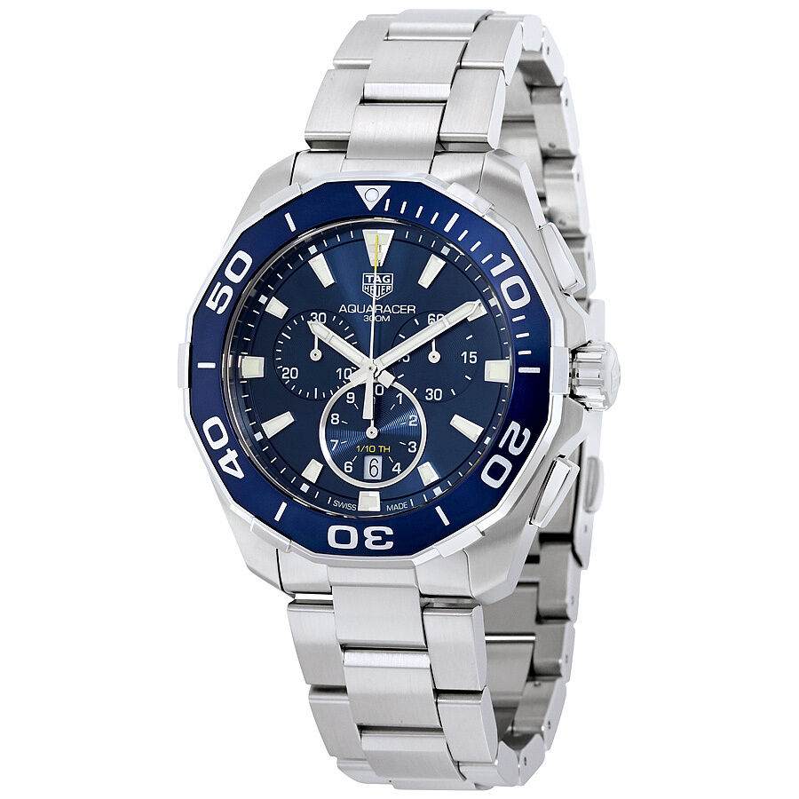 Tag heuer aquaracer chronograph blue dial mens watch cay111b ba0927 ebay for Tag heuer chronograph