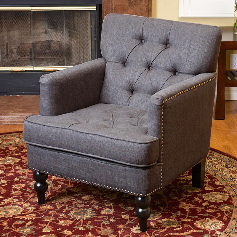 Fabric Furniture: Elegant Design Grey Tufted Fabric Upholstered Club Chair W