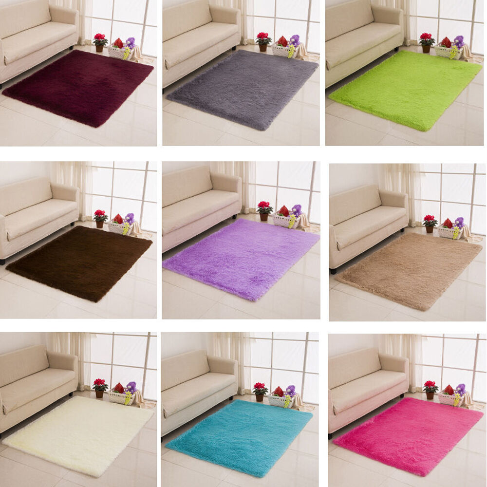 Dining Room Bathroom Fluffy Rugs Solid Color Anti Skid