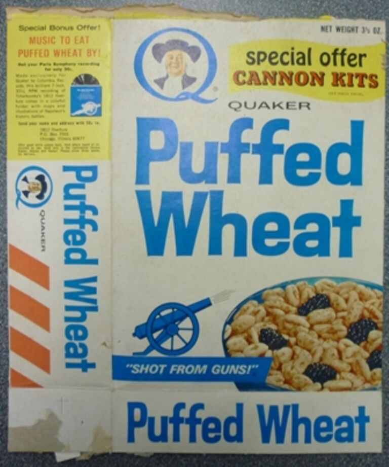 1950's Quaker Puffed Wheat Cannon Kits Offer Box