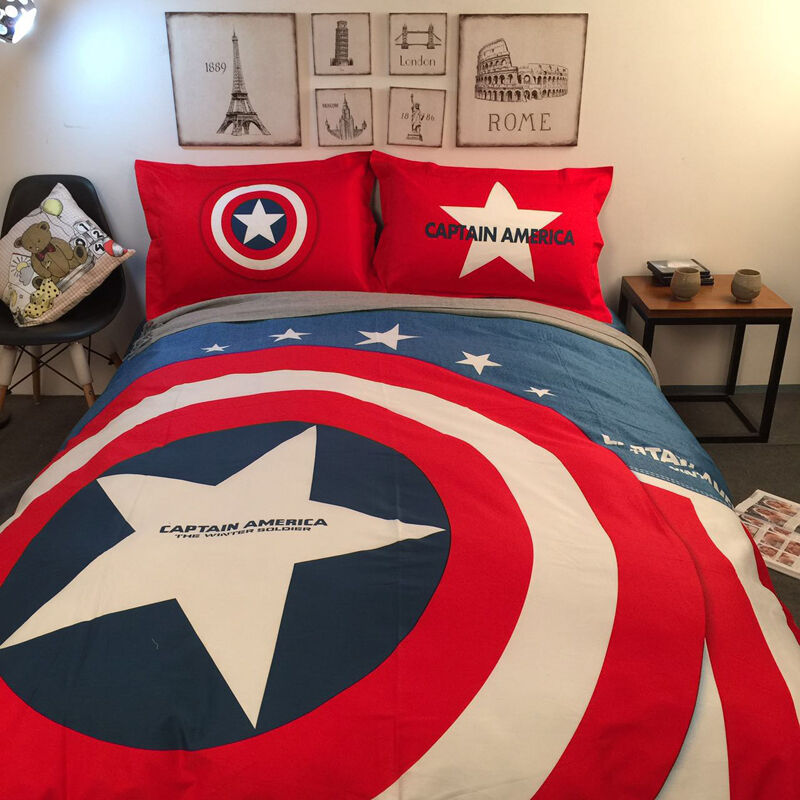 new captain america twin queen king size duvet cover bedding set children teens ebay. Black Bedroom Furniture Sets. Home Design Ideas