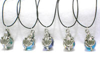 12   FROG  Black Cord Marble Pendant Necklaces  Mini