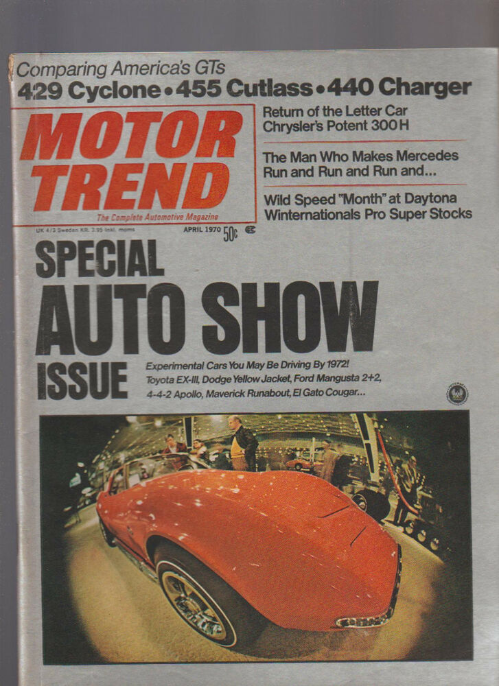 Motor Trend Magazine April 1970 Auto Show Cyclone Cutlass Charger | eBay