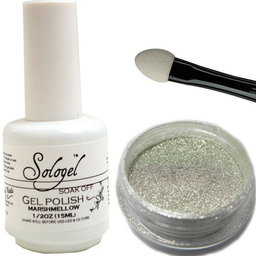 Chrome Nail Powder Cnd: Magic Mirror Chrome Silver Pigment Nail Powder And White