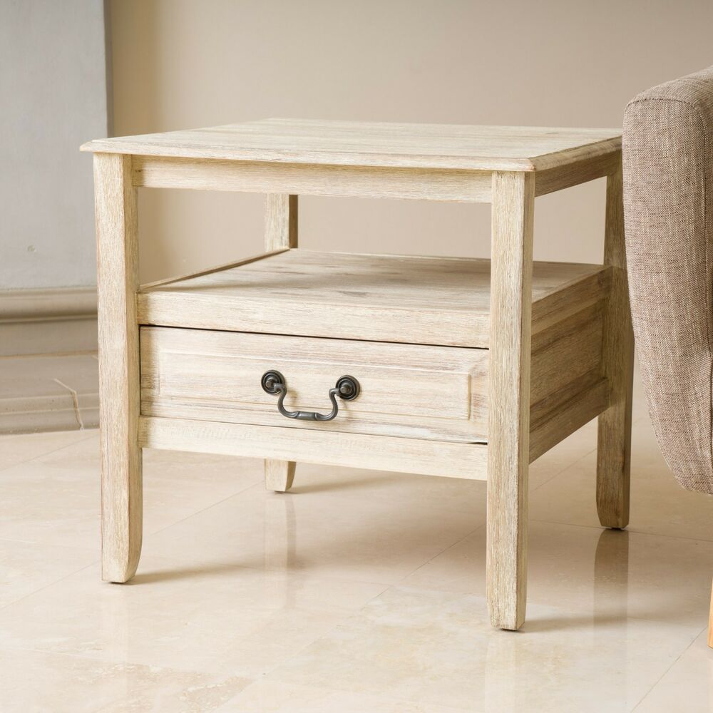 elegant off white wood finish accent end table w short drawer ebay. Black Bedroom Furniture Sets. Home Design Ideas