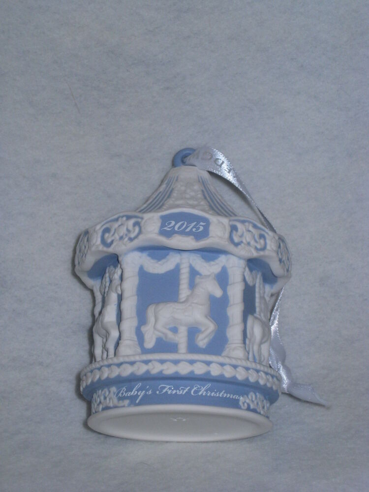 Wedgwood 2015 Baby S Firsst Carousel Ornament Blue White