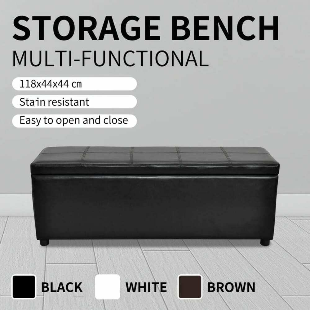 white black brown storage ottoman bench seat pu leather footrest organizer 118cm ebay. Black Bedroom Furniture Sets. Home Design Ideas