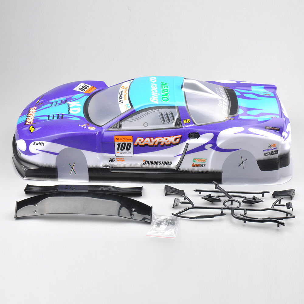190mm body shell for 1 10 rc on road drift car w spoilers blue 01 top sales ebay. Black Bedroom Furniture Sets. Home Design Ideas